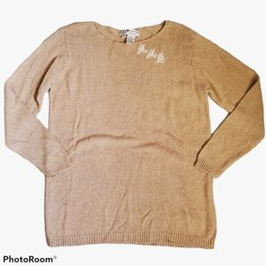 Real Clothes by Saks tan silk rayon knit top